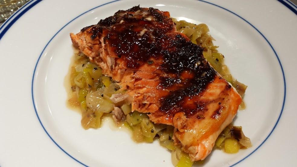 Balsamic Glazed Salmon with Creamy Leeks | David's Place Blog